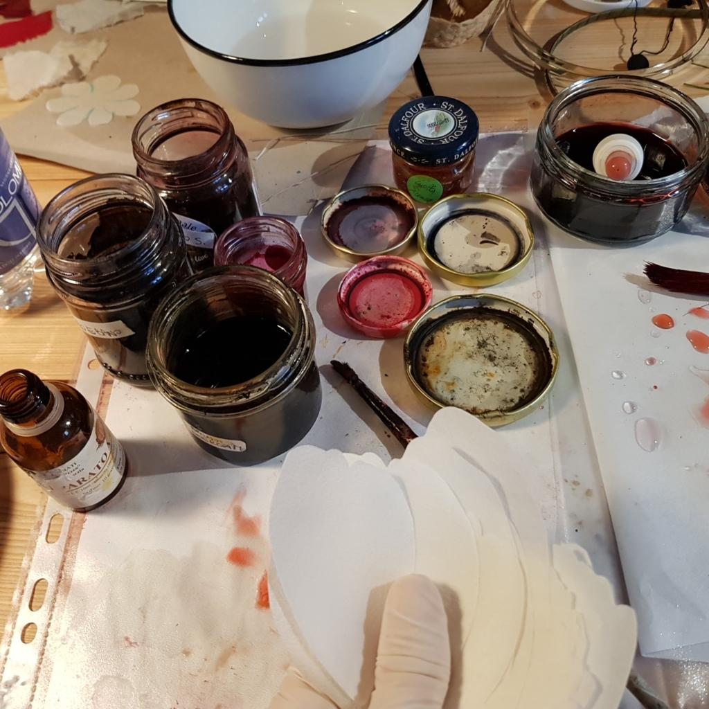 fiori in seta dipinti a mano