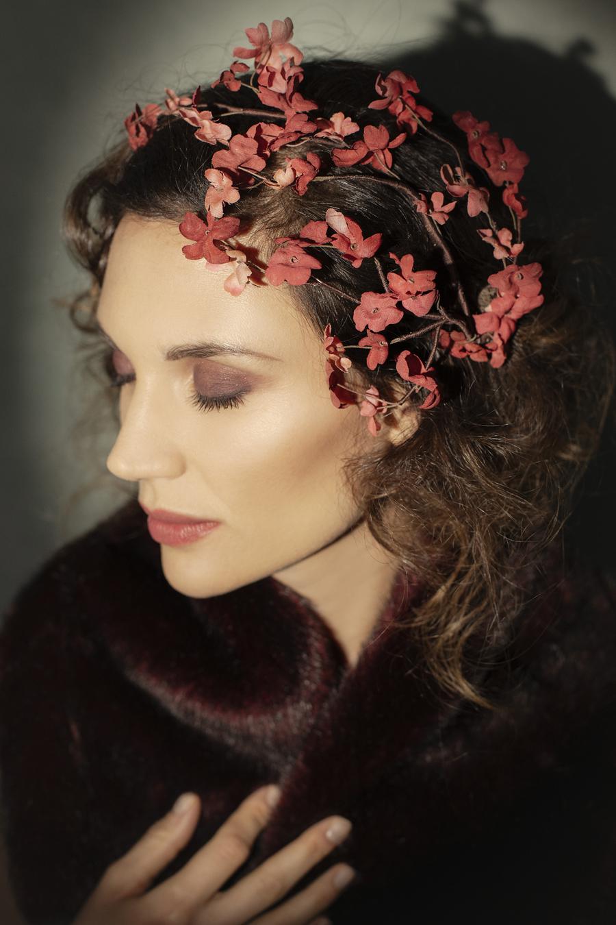 Ramage cerchietto per capelli con fiori in seta