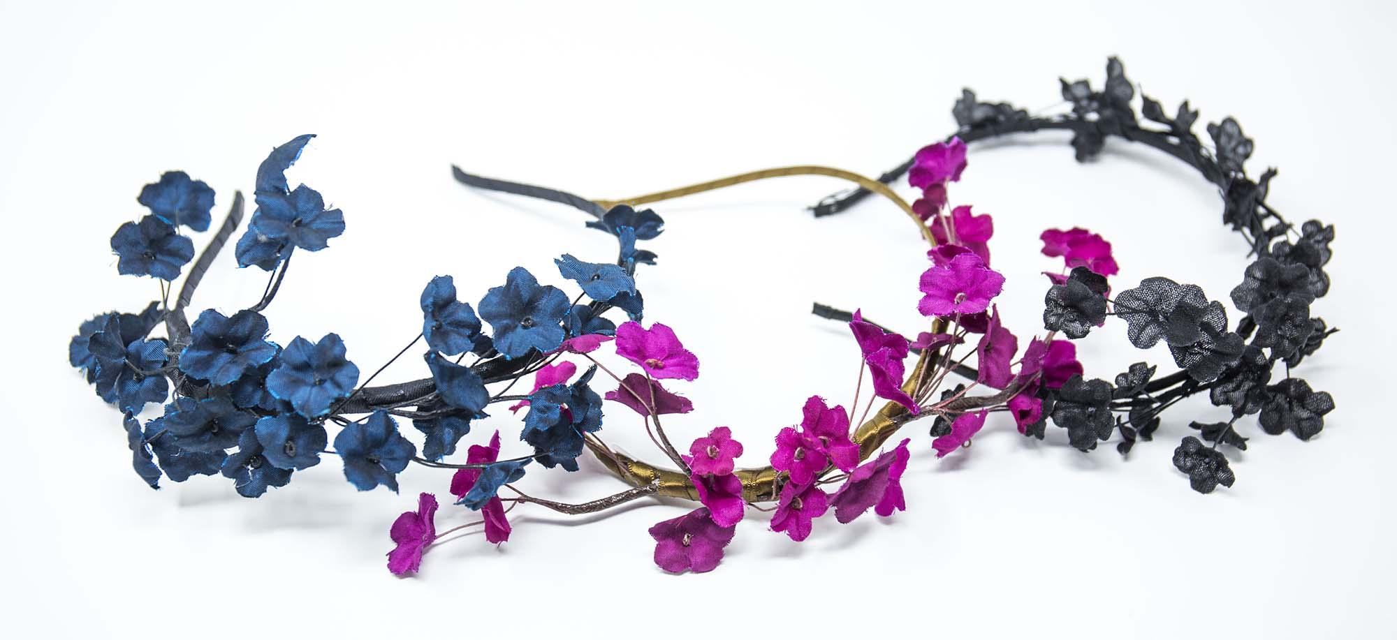 coroncine per capelli con fiori in seta