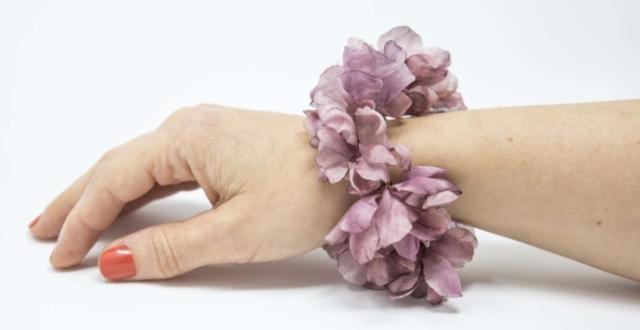bracciale con fiori in seta bijoux fané