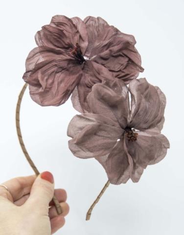cerchietto fiori in stoffa fatti a mano