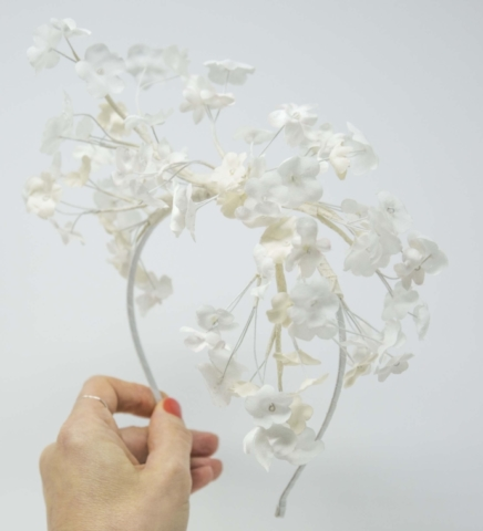 Blossom - Cerchietto da sposa con fiori in seta
