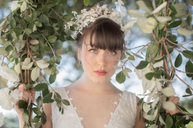 cerchietto con fiori in seta bianco cerimonia sposa damigella