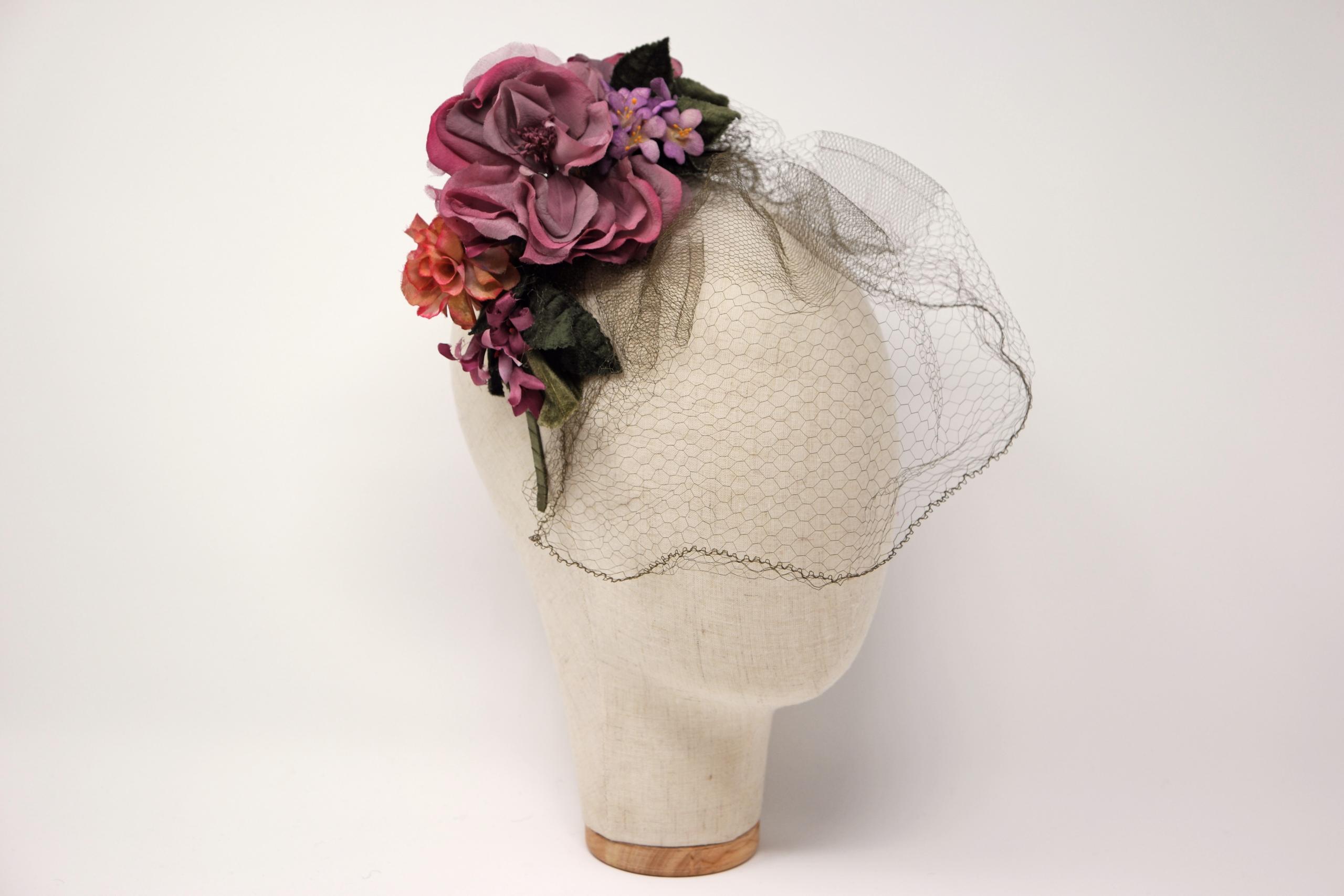 cerchietto fiori con veletta vintage