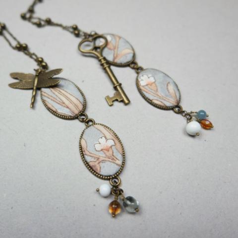 bijoux fanè vintage retrò cameo stoffa