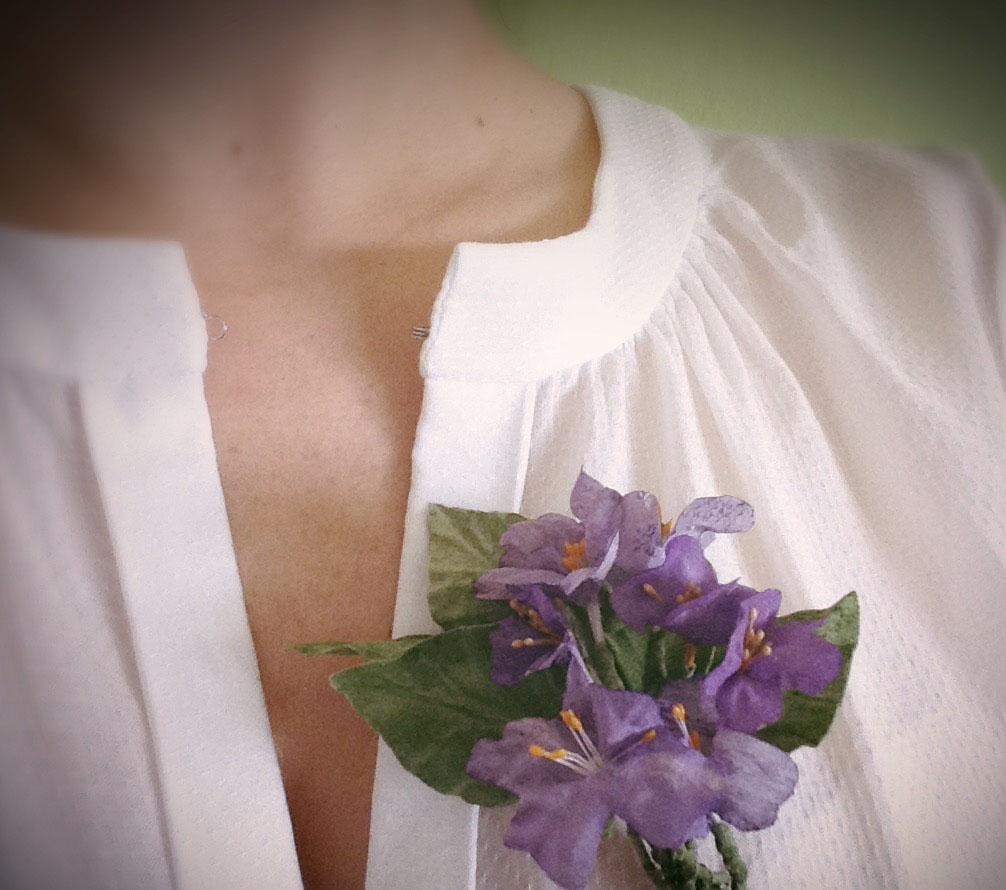 broche spilla camicetta fiori in stoffa fatti a mano