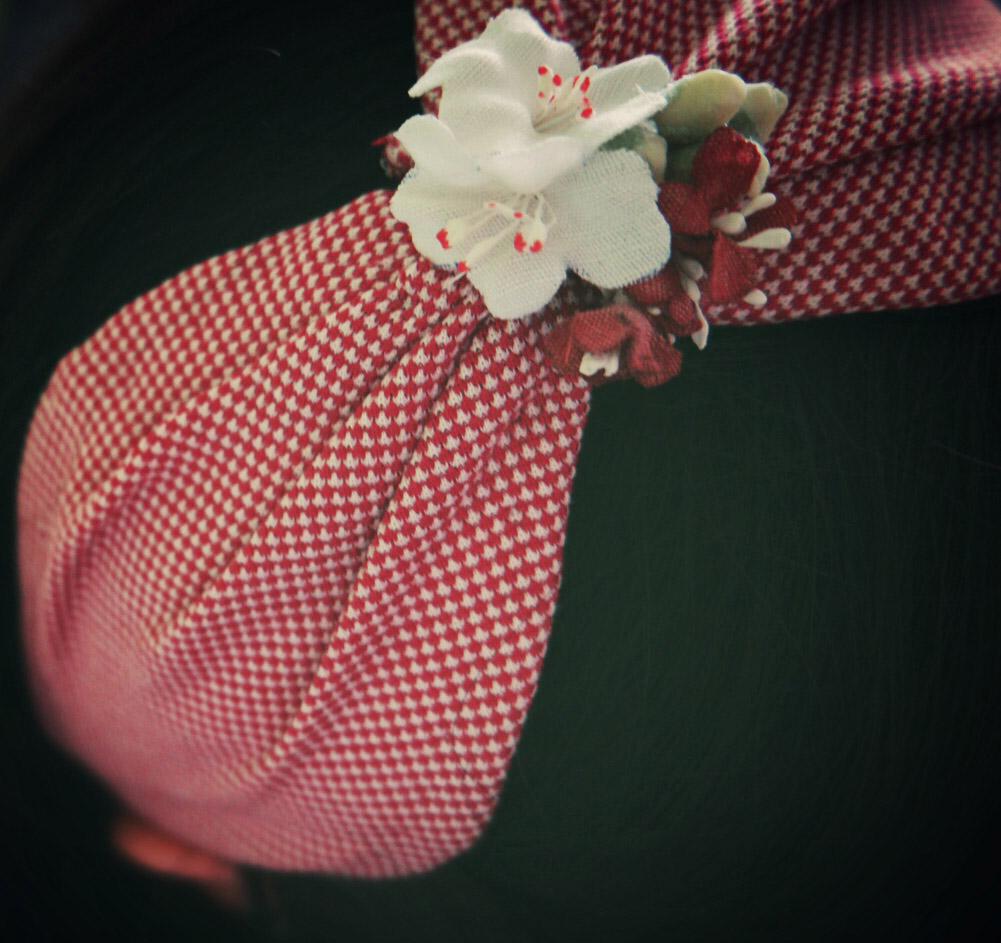 cerchietto vintage fiori fatti a mano in stoffa