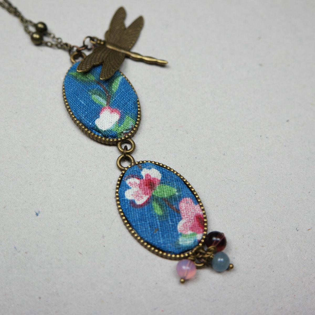 pendente collana fanè libellula stoffa retrò vintage