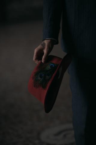 cappello tribly con piume di pavone fatto a mano