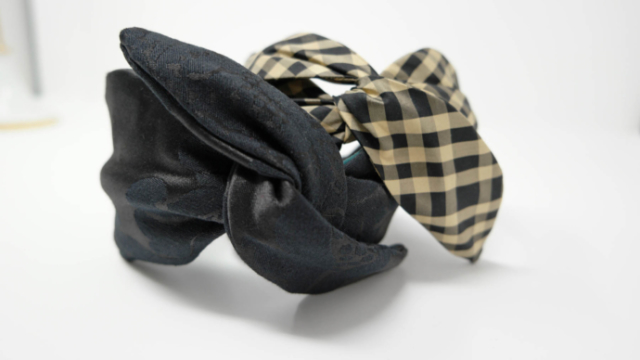 accessori capelli foglie nero broccato e taffeta ocra nero officinelamour