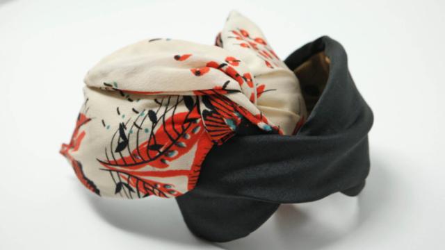 cerchietto capelli foglie seta orientale e nero laterale officinelamour