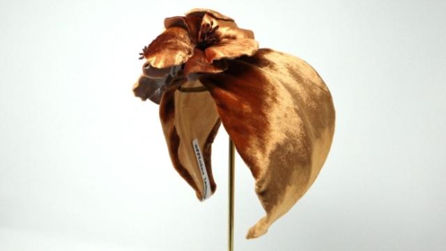 cerchietto capelli vintage foglie velluto ocra officinelamour udine