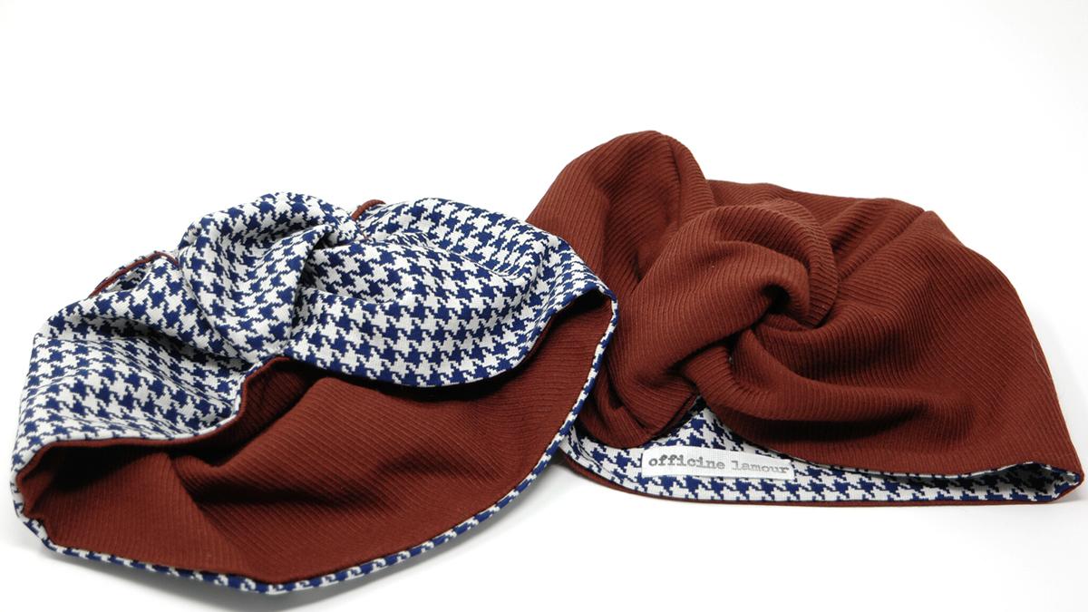 turbante in lana pied de poule