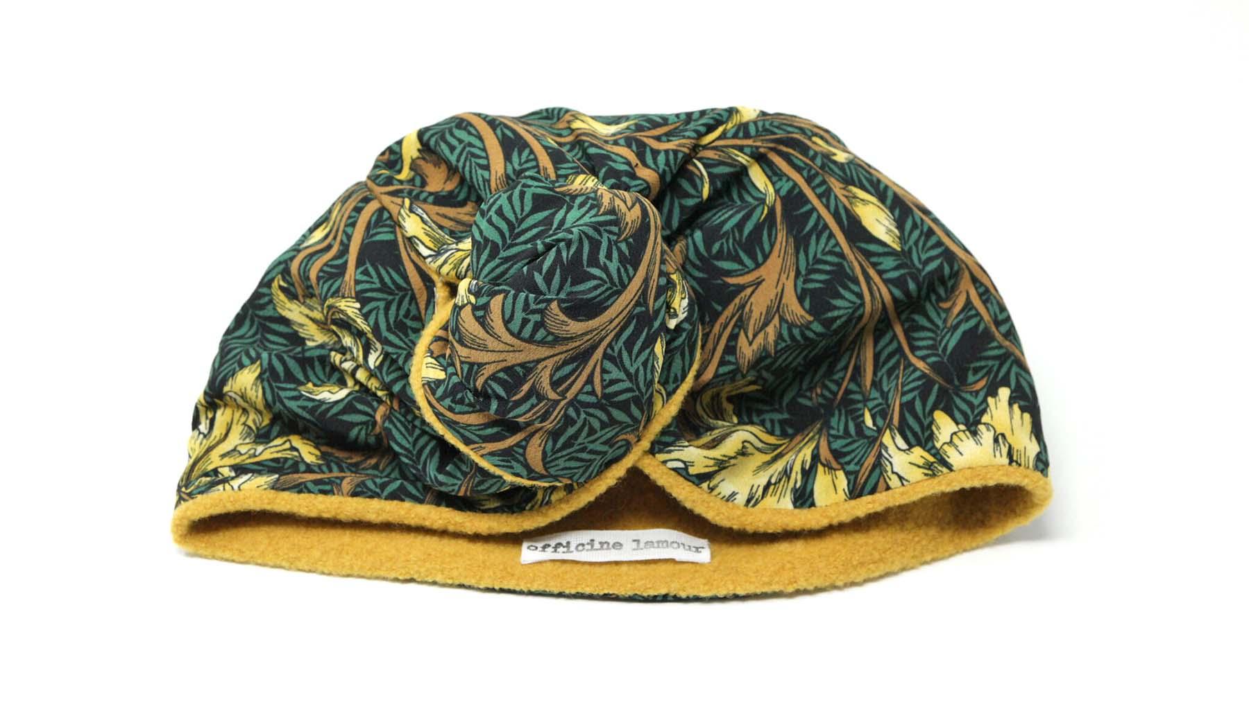 turbante lana floreale giallo