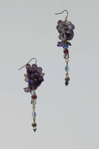 bijoux fané orecchini in seta e mezzi cristalli