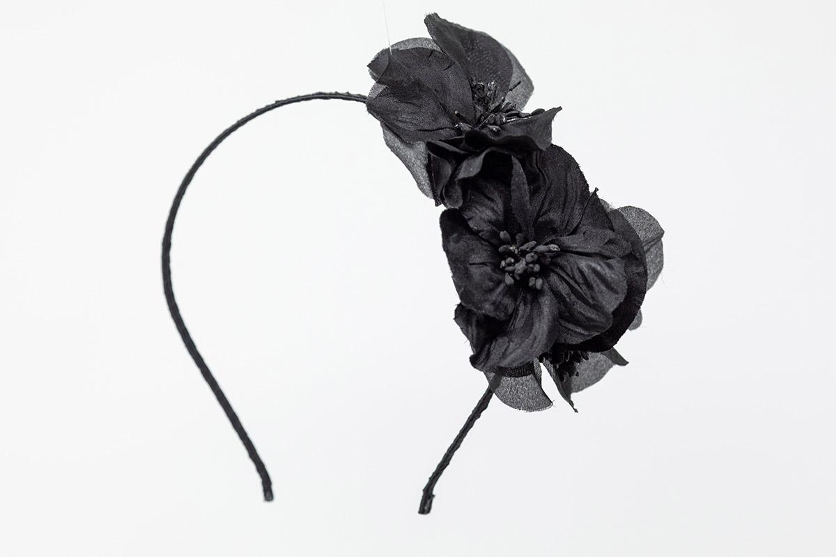 cerchietto con fiori in seta neri
