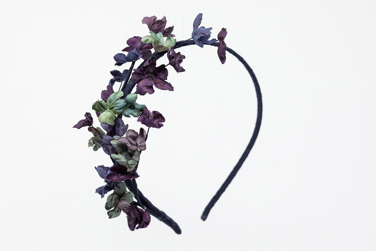 cerchietto con fiori in seta dipinti a mano officinelamour